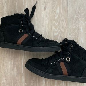 Gucci High Top Leather/ Wool Shoes